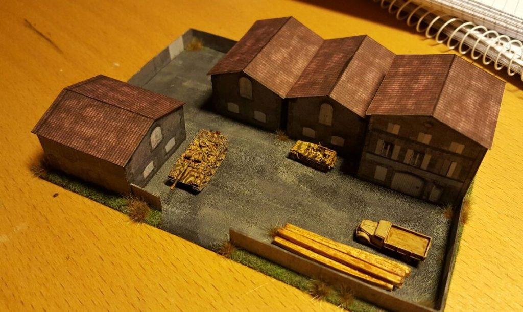 Die Fabrikanlage im Maßstab 1:285 (6mm) ist hier noch in der Hand der Wehrmacht.
