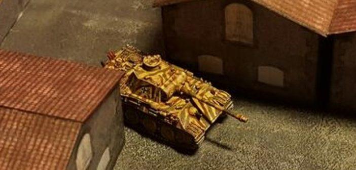 Der Panzer V Panther zieht zurück in die hintere Ecke der Fabrikanlage im Maßstab 1:285 (6mm)