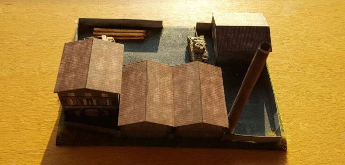 Die Fabrikanlage im Maßstab 1:285 (6mm) von der Rückseite aus betrachtet.