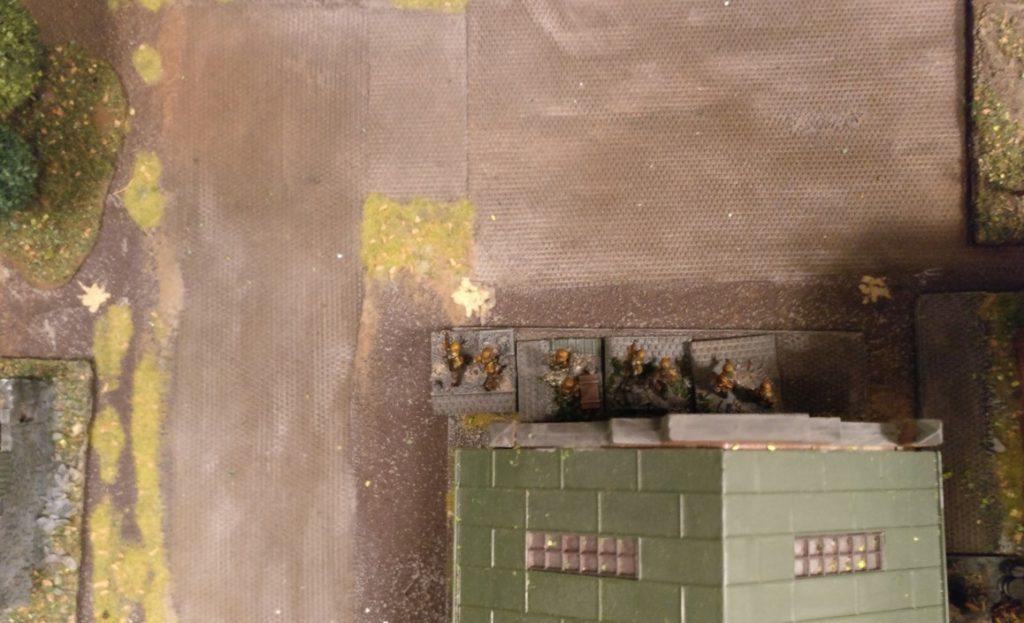 Die vier MG-Trupps von Leutnant Kluge im Kesselhaus der Schnapsbrennerei.