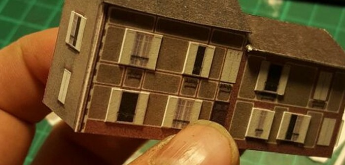 Wohngebäude für 6mm-Diorama aus Karton