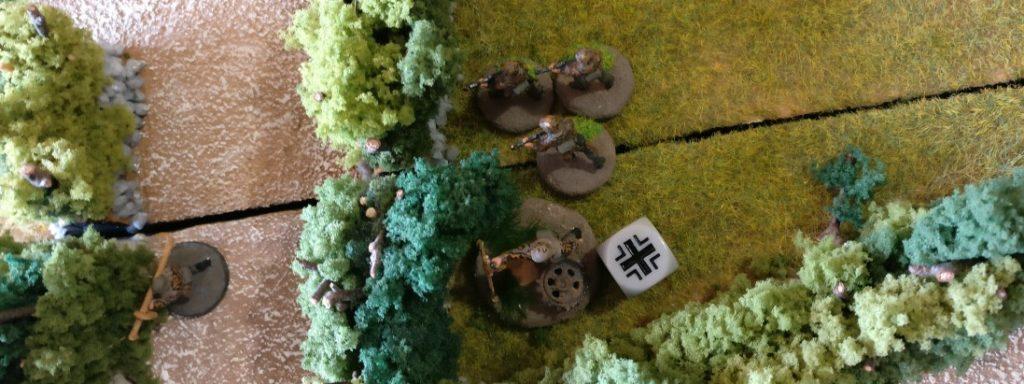 Der Granatwerfer-Trupp kriegt nach getaner Arbeit seinen Würfel und hat für diesen Zug seine Ruhe.