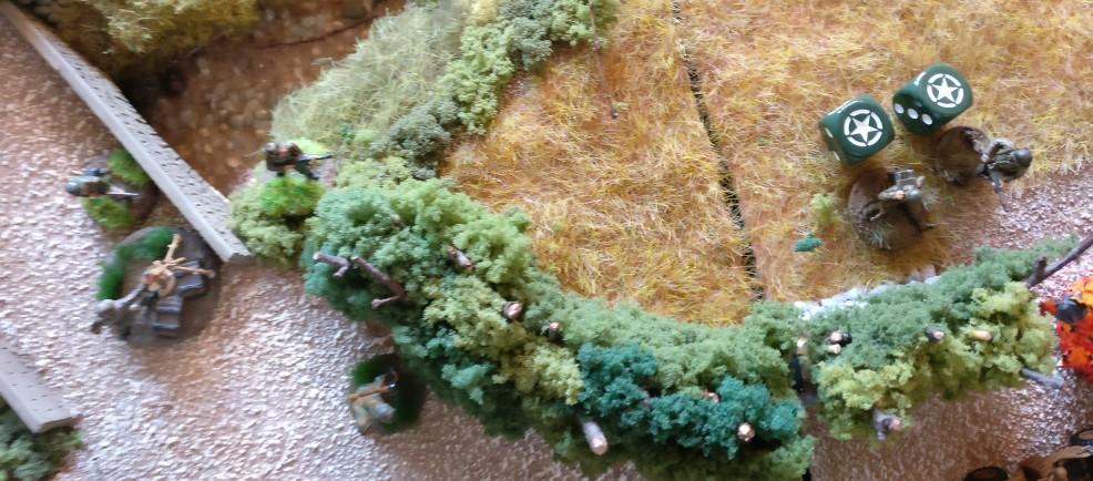 Die verbliebenen GIs machen den Weg für den Sherman-Tank frei und wollen übers offene Feld den Grenadieren in den Rücken fallen.