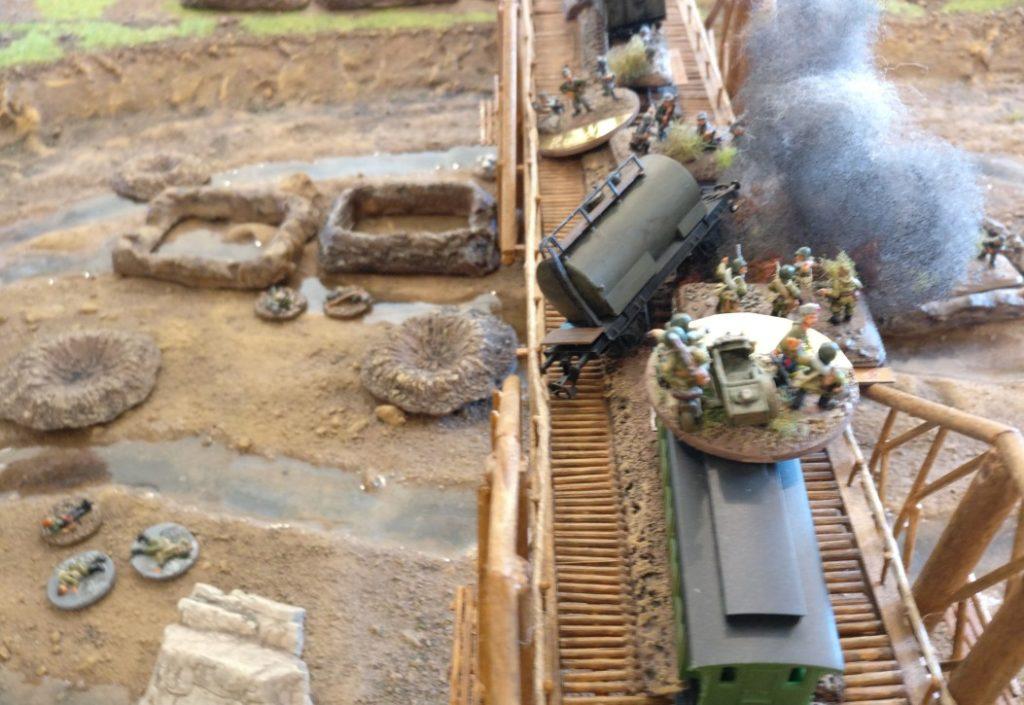 Der folgende Zug der Roten Armee zielte direkt auf den deutschen Zugführer in Spielfeldmitte.
