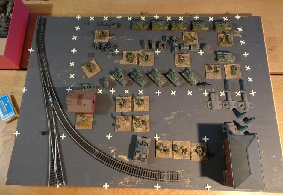 Überblick über die probeweise ausgelegte Platte von 75cm x 60cm. Die eng weiß gekreuzelte Fläche ist die Grundfläche der Maschinenhalle.