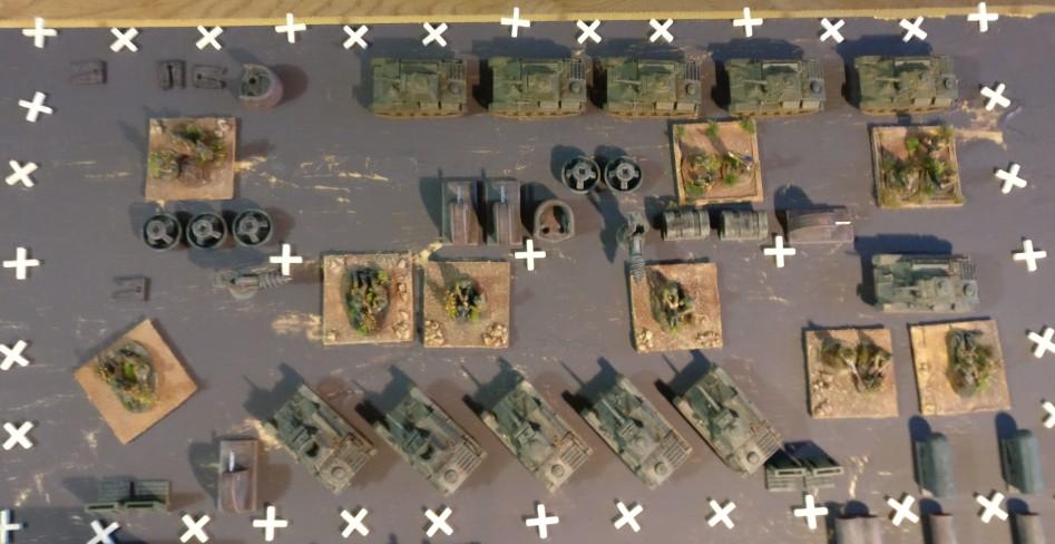 Hier die Grundfläche der Maschinenhalle,  Sie ist mit den T-70 der Montagelinien, Werkzeugmaschinen und Halbzeugen gefüllt. Für Infanterie-Basen ist recht wenig Platz.