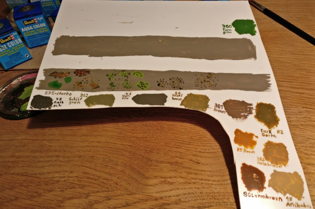 Die getesteten Farben (allesamt Revell Aquacolor) beim Versuch.