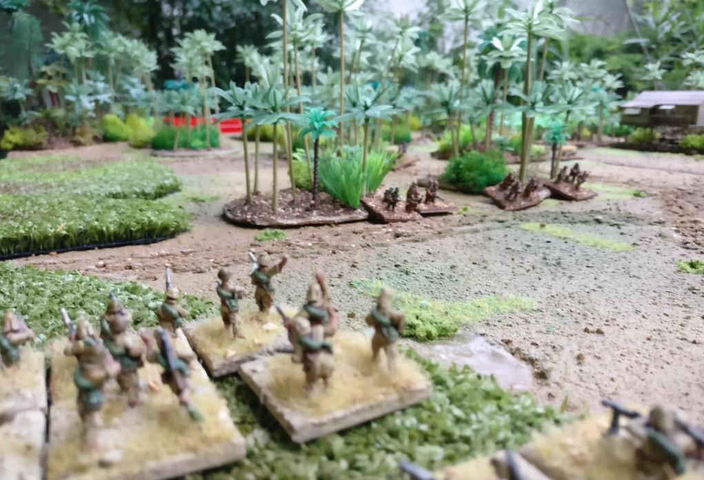 Aufstellung: zwei Infanteriezüge im Sumpf am Plattenrand.