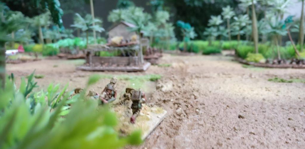 Der Geschützzug platziert sich gegenüber den Objectives und Befestigungen.