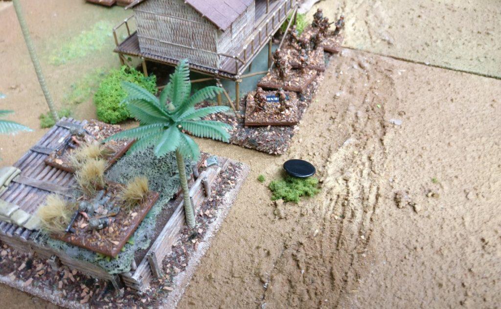 Der erste Artillerieschlag der Japaner.