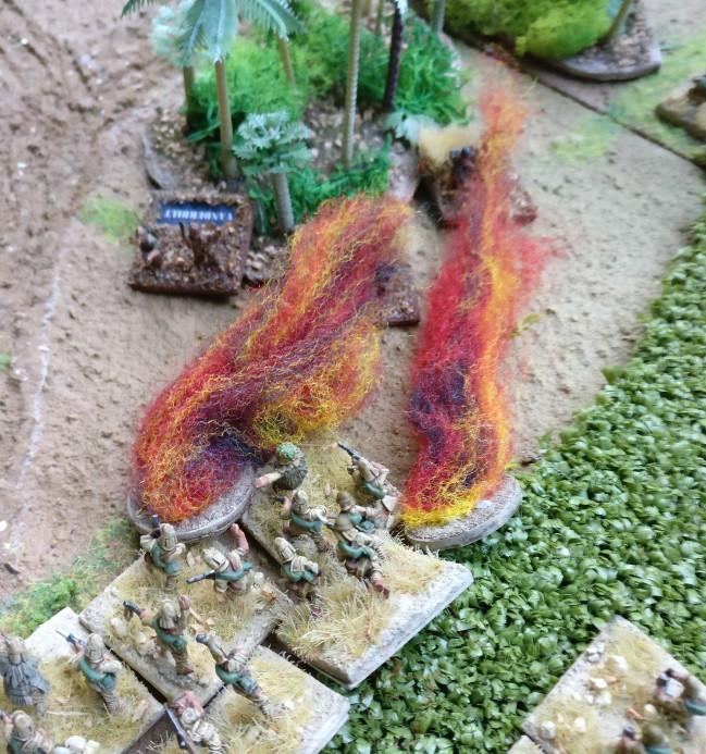 Die Flammenwerfer auf Wake Island werfen... Was werden die Würfel dazu sagen?