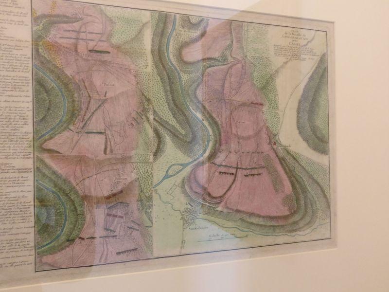 Plan der Schlacht von Sandershausen bei Kassel vom 23. Juli 1758 in der militärhistorisch-hessischen Sammlung von Schloss Friedrichstein in Bad Wildungen
