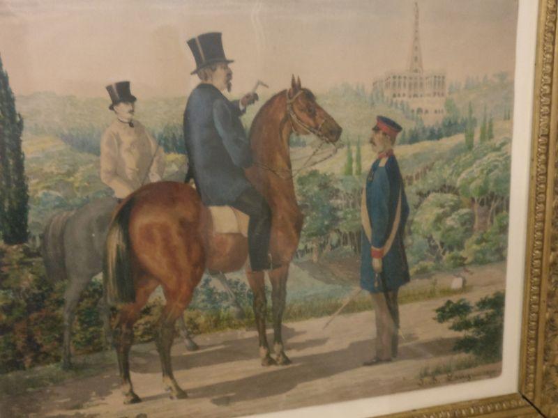 Napoleon III. in Gefangenschaft im Park von Schloss Wilhelmshöhe in der militärhistorisch-hessischen Sammlung von Schloss Friedrichstein in Bad Wildungen