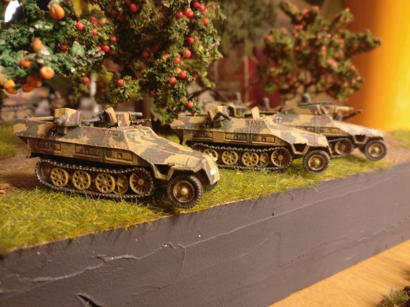 Die drei Sd.Kfz. 251 von PSC / Plastic Soldier Company mal eben schnell auf die 15cm-Segmente von Shturmigrad gestellt. Passt schomma.
