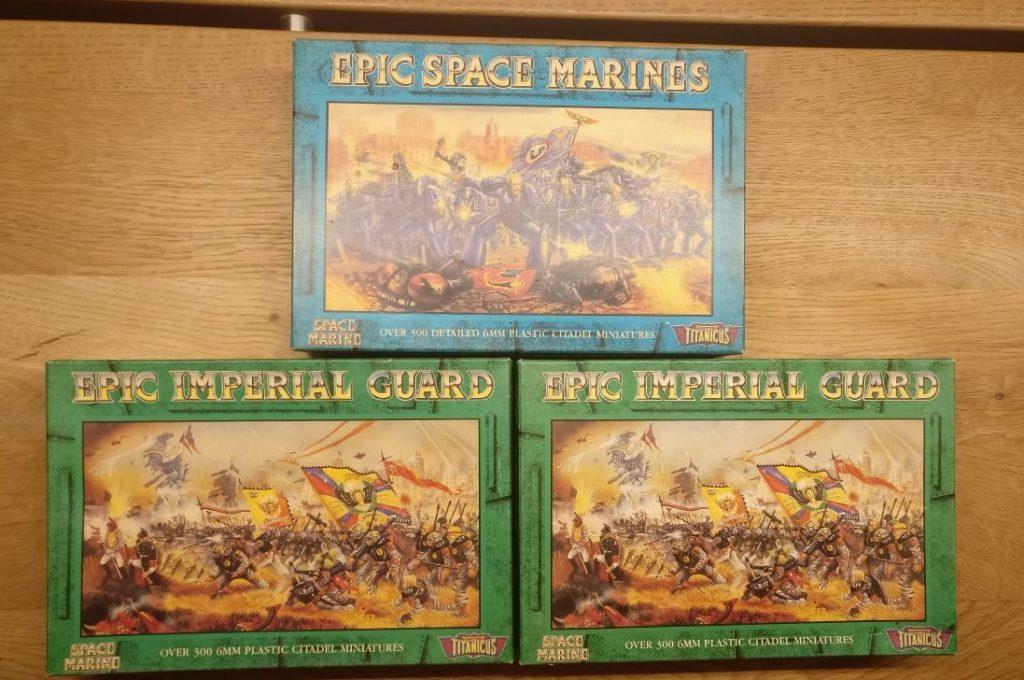 EPIC 40K Imperial Guard Infantry und Space Marines: Drei Boxen feinste 6mm-Figuren quittierten den Dienst in der Sturmi Army noch vor ihrer Einkleidung.