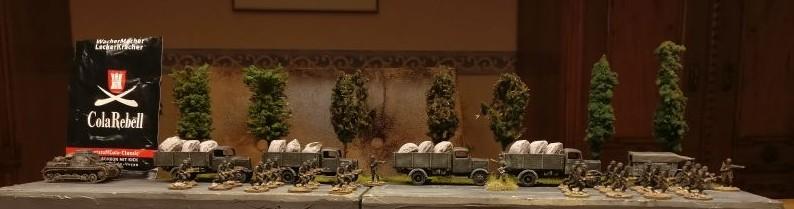 Auch auf deutscher Seite mühten sich die Kolonnen, den Pantoffelgeneral bei Kräften zu halten.