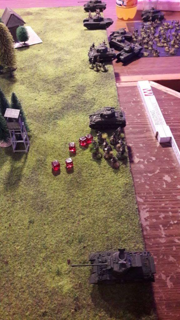 Hier stellen sich dann die Truppen auf. Ein Schörmi, drei Kollegen und ihre Mannen.