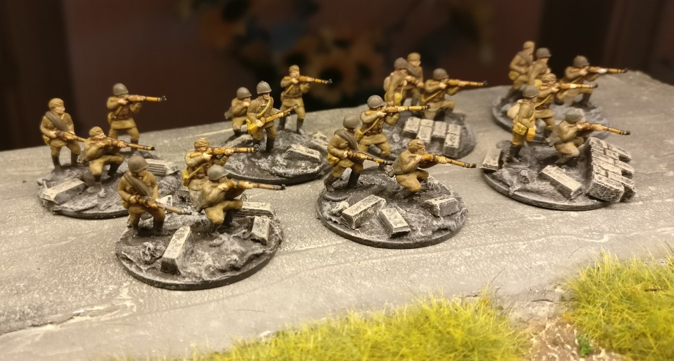 7 Rifle Trupps. Für PBI, aus dem Set Plastic Soldier Russian Infantry in Summer Uniform (WW2015001)