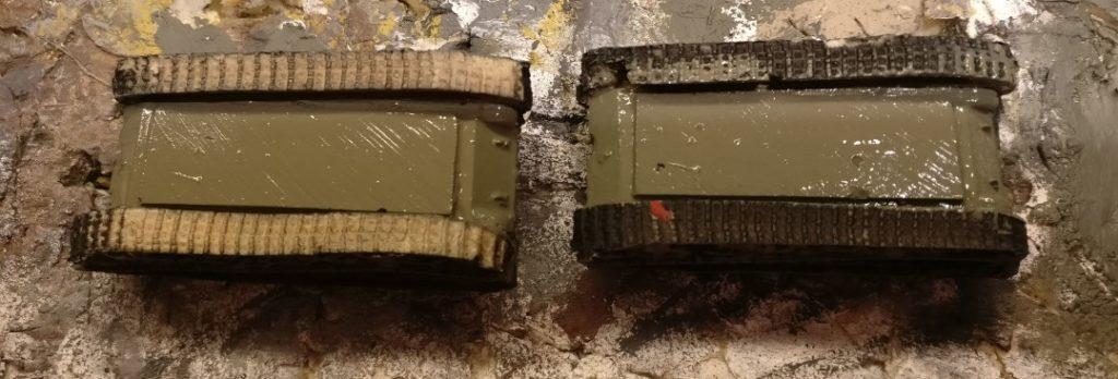 Die Unterseiten habe ich einfach flächig gestrichen. Ebenfalls mit Revell Aquacolor Grüngrau.
