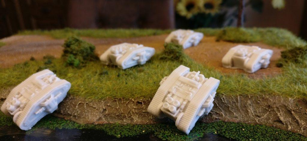 Ein steiler Hang ist kein Hindernis für den  Dystopian Wars MKII Class Medium Tank.