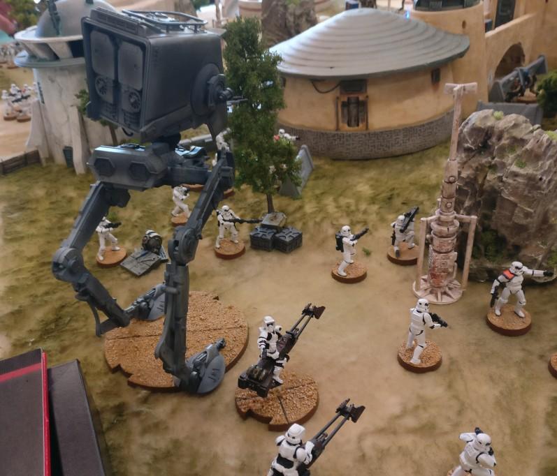 Spieltisch Star Wars Legion (BATUU -Spielmatte von Matthias Grüttke) auf der 1. Hammerzeit auf dem  6. Rhein Main Multiversum des Tabletop Club Rhein-Main e.V. in Nidderau