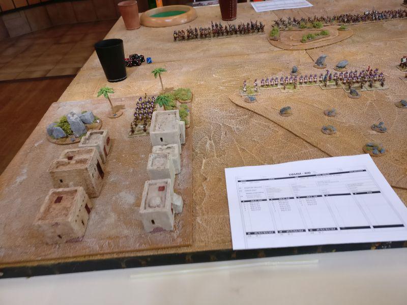 Links im Bild additzens Wüstenstadt mit den Häusern und Palmen. Ein schöner Hintergrund für die DBMM-Battle.