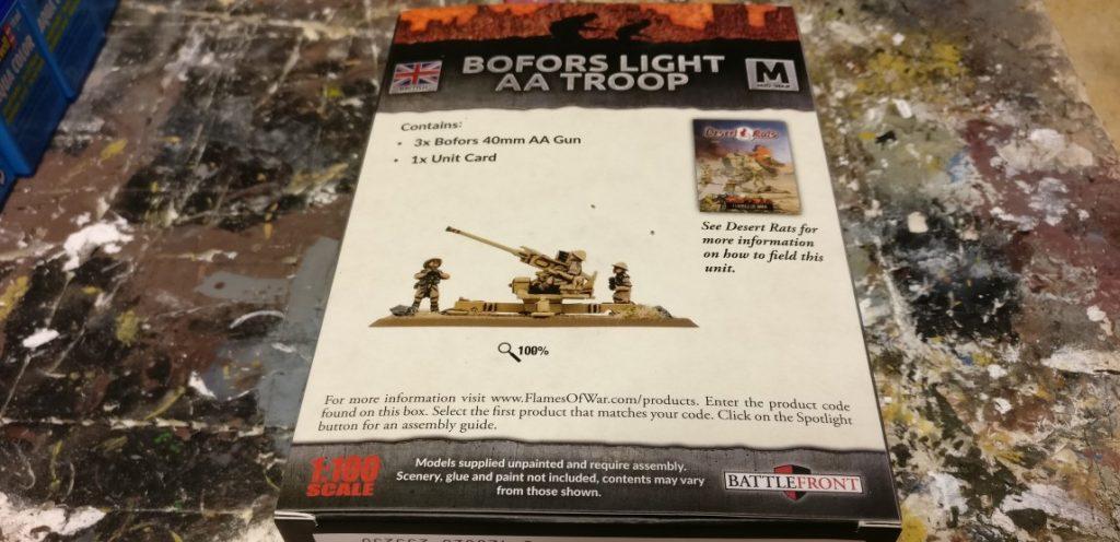 Die Abbildung auf der Rückseite der Packung der Bofors 40mm Flak von Flames of War verheißt ein schönes Modell.