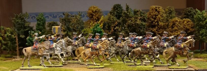Gruppe Zinnfiguren #1 von Nürnberger Meisterzinn: 14 Reiter, einer davon mit Standarte
