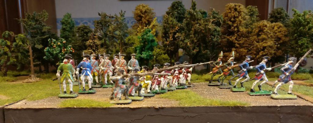 Gruppe Zinnfiguren #4 von Nürnberger Meisterzinn: 22 stürmende Grenadiere / Linieninfanterie