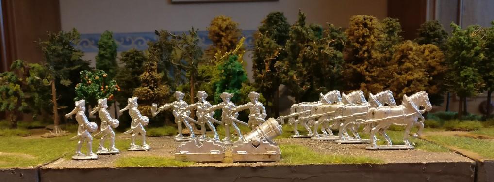 Gruppe Zinnfiguren #6 von Nürnberger Meisterzinn: 2 Mörser, davon einer vollständig, vier Pferde, vier Kanoniere (zündend), drei Kanoniere (Kugel schleppend)