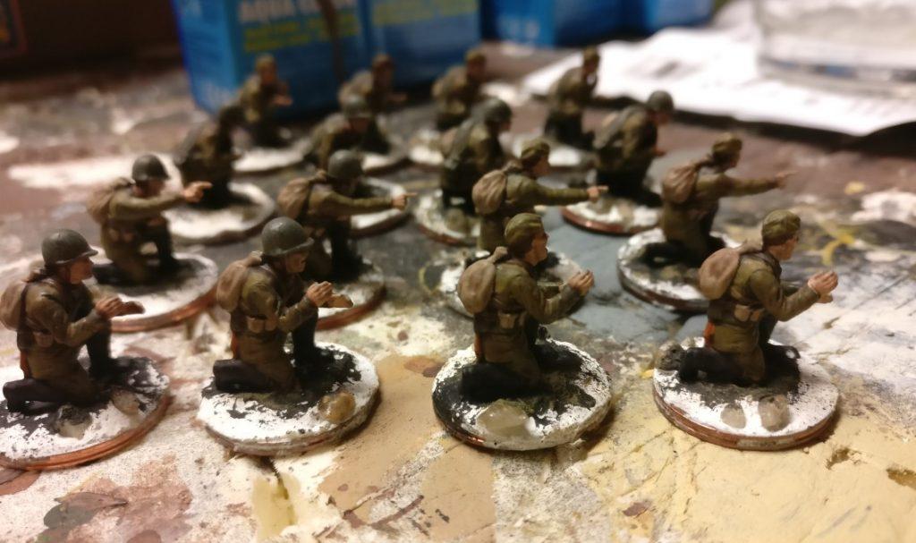 Hier sind die Figuren aus dem Plastic Soldier Set WW2G20001 Russian 45mm Anti-Tank Gun fast fertig.
