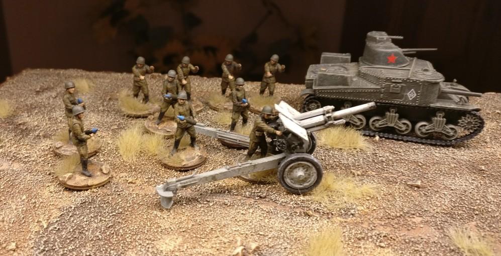 Gruppenbild mit Wumme: Zvezda 6122 Soviet Howitzer 122mm M-30 vor Lend-Lease-M3-Lee