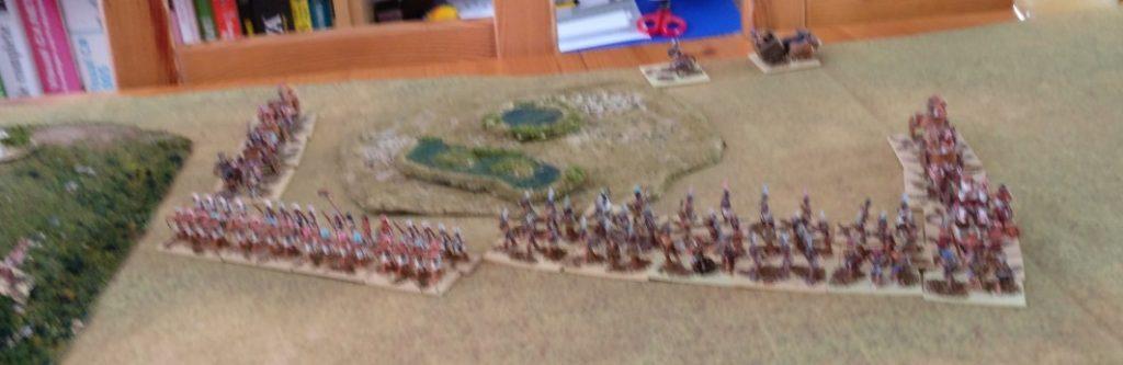 Die Ägypter im Zentrum genießen aus der Ferne das Schauspiel an der Flanke.