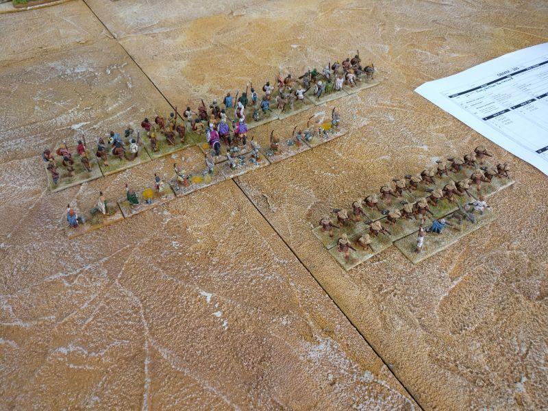 """Vorne das C-Kommando und dahinter ein Teil des A-Kommando meiner DBMM-Armee """"Early Northern Barbrarians"""""""