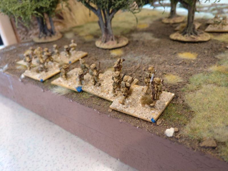 Hier der zweite indische Infanteriezug. Er macht sich auf den Weg durch den Olivenhain, der als Closed Terrain zählt.