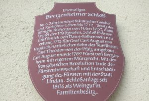 Etwas Geschichte zum Bretzenheimer Schloss gab es auf dieser Tafel an der Schlossmauer. Wer es lesen mag, kann die Tafel zum Vergrößern anklicken.