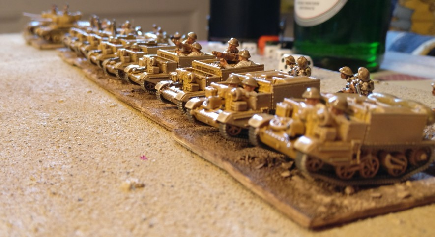 Die frisch gebackene gräfliche Truppe. Die niegel-nagel-neuen Bren-Carrier sind einsatzbereit. Leider mussten sie im Spiel als Reserven im offtable auf gute Würfelwürfe warten.