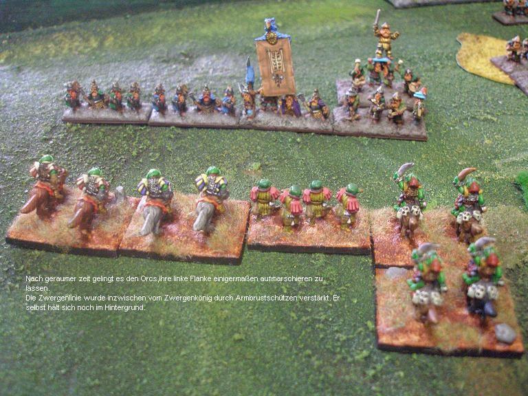 Der Aufmarsch der Schlachtlinien von Orks und Zwergen.