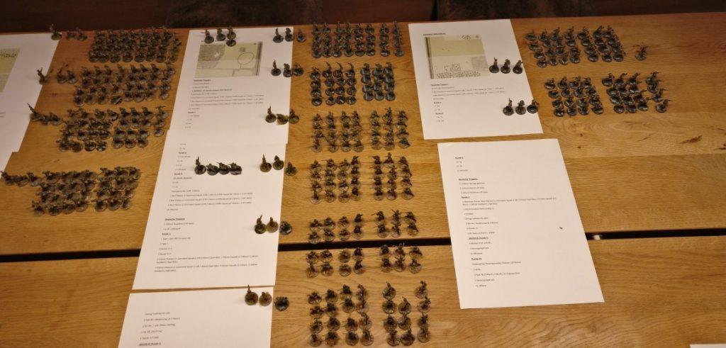 """Das Bild zeigt die Mannschaften der Roten Armee für die einzelnen Angriffswellen auf den drei Spielplatten """"Ost"""", """"Zentral"""" und """"West""""."""