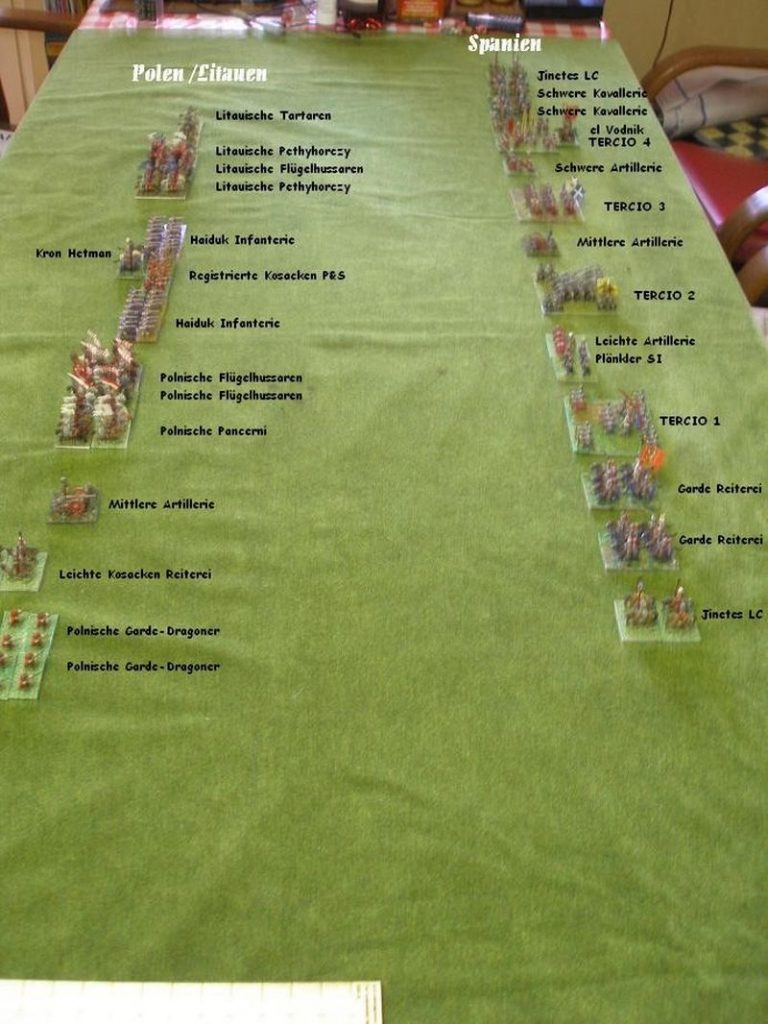 """Foto des Table-Top-Spiels nach den Regeln von ARMATI 2 Renaissance: """"Schlacht auf den Käfertalischen Feldern"""""""