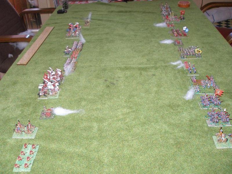 Nicht lange stehen sich die beiden Schlachtreihen ruhig gegenüber ! Fast gleichzeitig eröffnen beide Seiten mit ihrer Artillerie die Schlacht.