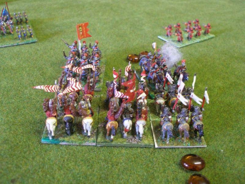 Das spanische Garde Tercio steht - ebenso wie die benachbarten Garde-Kürassiere- durch ihre großen Disziplin felsenfest.