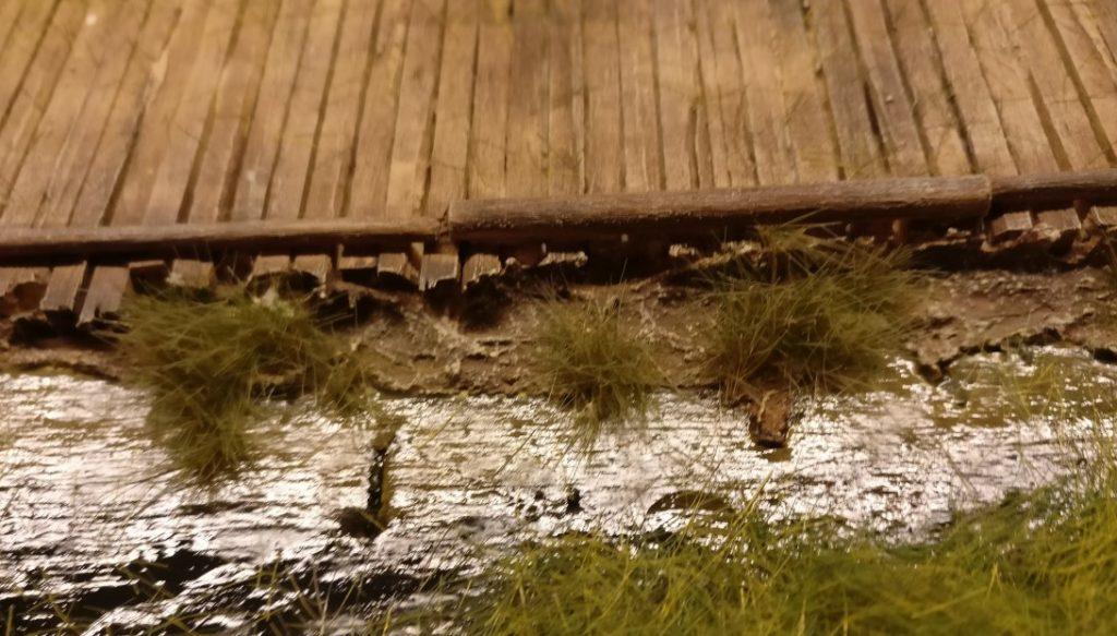 """Hier stehen mehrere Grasbüschel des """"Swamp Tuft"""" am Ufer."""