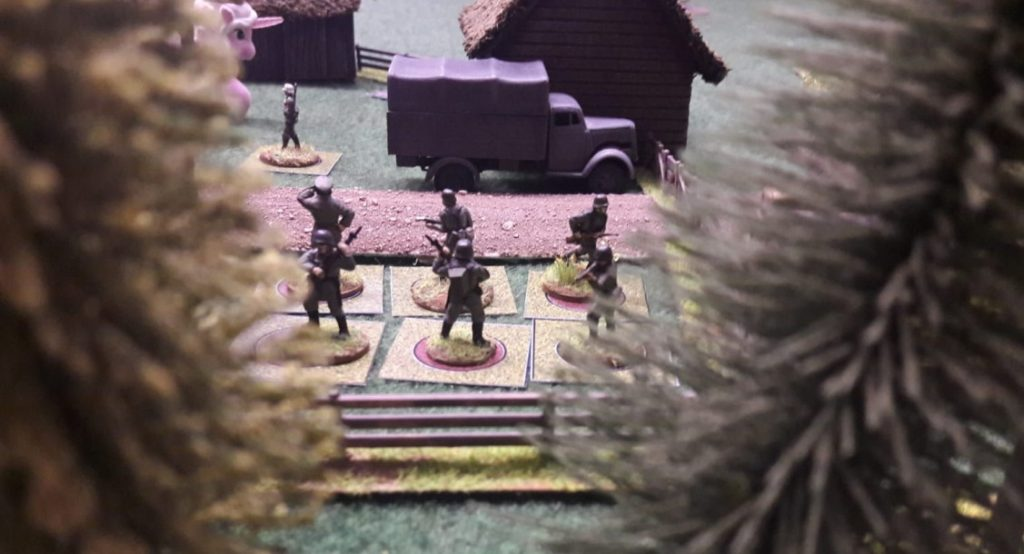 Eingegrabene Grenadiere im Dorf.