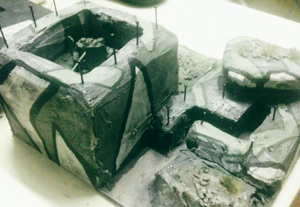 """PBI-Spielmodul """"Bunkerstellung"""", 15x15cm , nahezu fertig, es kommen in Kürze noch die Tarnnetze..."""