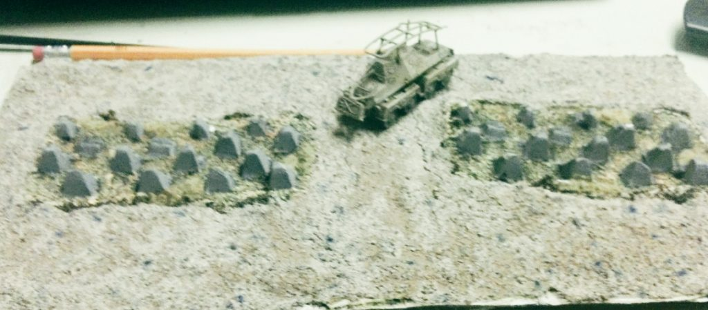"PBI-Spielmodul 15x30cm, ""Panzersperren"", 50% fertig"