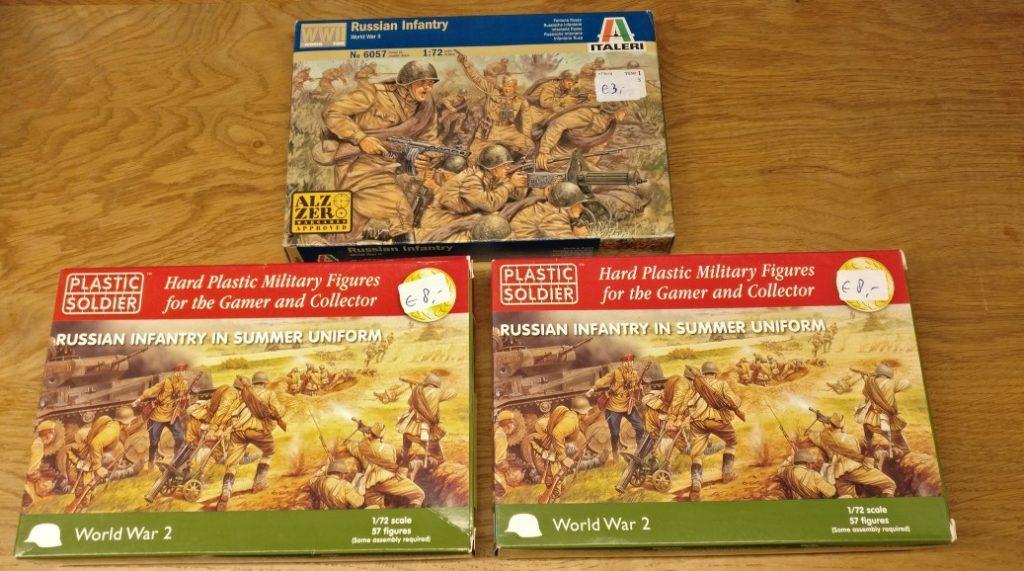 "2x Plastic Soldier Company ""Russian Infantry in Summer Uniform"" und 1x Italeri 6057 ""Russian Infantry"" vom Bring-and-Buy auf der Crisis in Antwerpen."