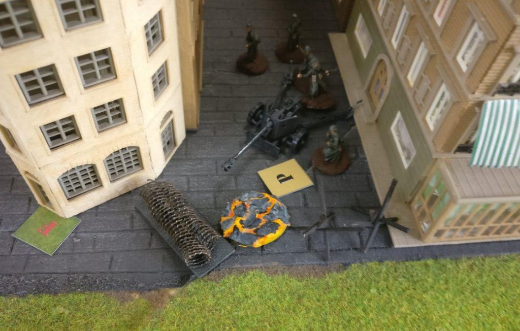 Die Pak 40 wurde von einem Artillerieschlag getroffen und gepinned.