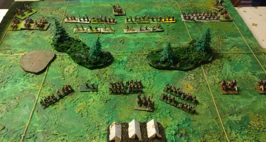 Die Schlachtordnung der Briten und Römer bei unserer ersten ARMATI-Battle.