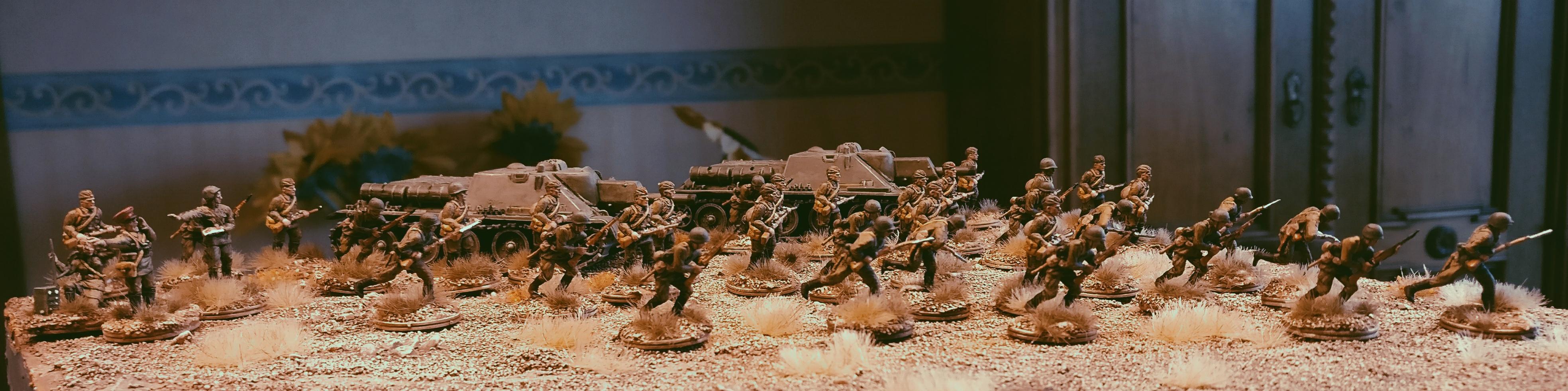 Hier stürmt es bereits ganz schön...  Die 30. Schützendivision greift an! Ein paar Schwarzkittel sind auch dabei.